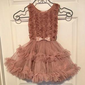 Dusty Pink, Rosette Petticoat Dress - Size XS 2-3